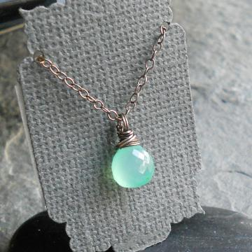 Chrysoprase Wire Wrapped Pendant Sterling Silver Necklace Black Friday Cyber Monday Small Business Saturday