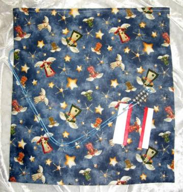 Angel Christmas /  Fabric Tie Gift Bag / Large /  With Gift Tag