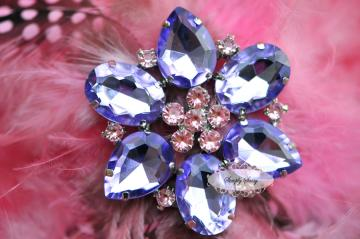 RD113 BIG LAVENDER Rhinestone Embellishment Button Brooch - wedding accessories invitations pillow crystal bouquet flowers hair