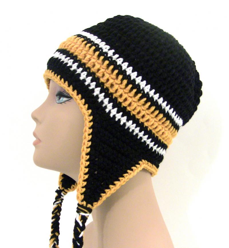 Crochet Mens Hat : Black and Gold Crochet Earflap Hat - Mens Womens Unisex