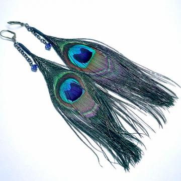 Swarovski Dark Sapphire Crystal & Peacock Feather Dangle Earrings