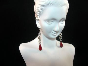 Crimson Temptress Chainmail Earrings