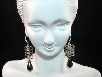 Midnight Velvet Chainmail Earrings