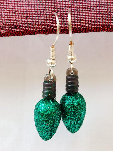 Green Christmas Lights earrings