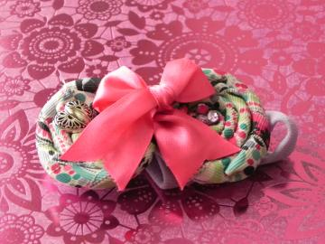 Colorful Rolled RIbbon Fabric Rose - Bow - Girl/Baby Girl - Ready to Ship!