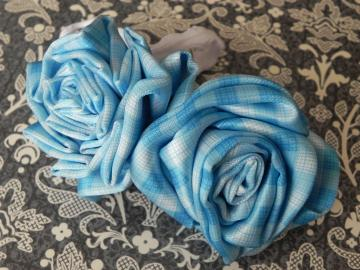 Blue Big Fabric Flower Roses - Stretch Headband - Girl - Ready to Ship!