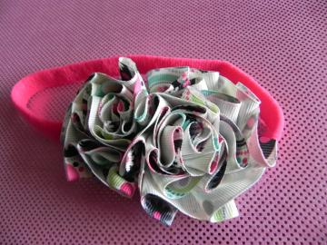 Fabric Flower Grosgrain Ribbon Rose on Stretch Headband - Baby Girl/Girl - Ready to Ship