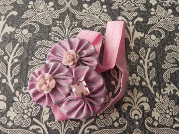 Fabric Flower Yoyo - Stretch Headband - Baby Girl/Girl - Ready to Ship