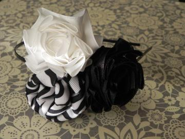 Satin/Grosgrain Ribbon Roses/Rolled Rose/Fabric Flower - Trio - Metal Headband - Girl/Teen/Adult - Ready to Ship!