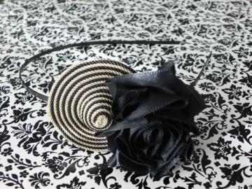 OOAK Colombian Hat-Satin Rose Fabric Flower - Metal Headband - Adult/Girl/Colombia/Teen/Hispanic Month - Ready to Ship!