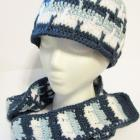 Blue and White Stripes Hat and Scarf Set Girls, Boys, or Ladies Small