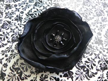 SIlk Black Fabric Flower - Alligator Clip - Ready to Ship!