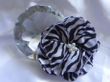 Zebra Print Fabric Flower - Alligator Clip - Ready to Ship