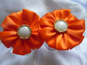 Satin Ribbon Petals Fabric Flower - Alligator Clip - Ready to Ship