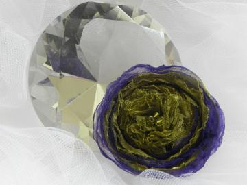 Green/Purple Organza Flower - Ready to Ship