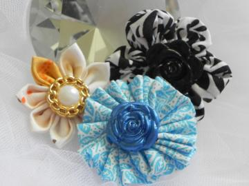Gathered Fabric Flower - Alligator Clip - Ready to Ship
