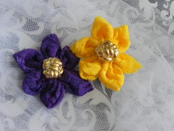 Kanzashi Lace Fabric Flower - Ready to Ship