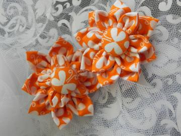 Kanzashi Fabric Flower - Alligator Clip - Ready to Ship