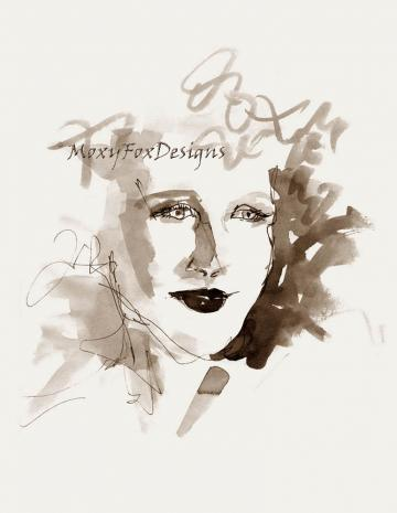Art -- She Was Blonde, Portrait, Sexy, Soft Curls, Drawing, Pen Ink, Contemporary Art, Wall Decor, Susan Givens Art, MoxyFoxDesigns