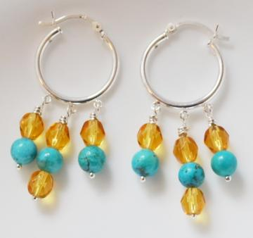 Turquoise and Golden Honey Chandelier Hoop Earrings