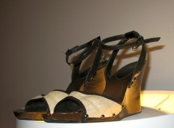 Vintage STRAW & Leather Wedges 8.5