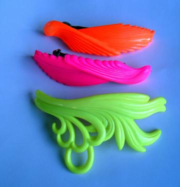 Neon 80s Hair Clips Vintage Lot Pink Yellow Orange