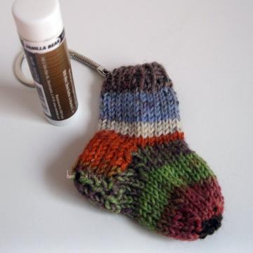 cute hand knitted mini sock key chain