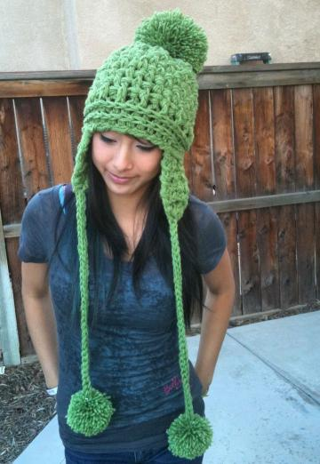 Adult/Teen Wafflestitch UBER Puff Ball Snow Hat -Wasabi or other colors available