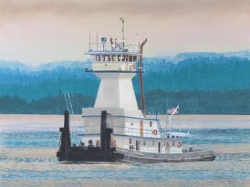 """Willamette Champion"" Paper Giclee Print Tugboat by Carol Thompson"