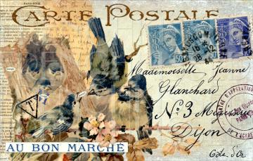 ORIGINAL Digital Collage BLUE BIRDS Nest French Postcard Script Ephemera 3 Choices
