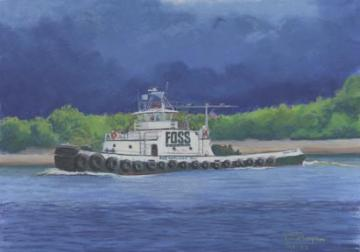&quot;In Any Weather (Daniel Foss)&quot; Paper Giclee Print Tugboat by Carol Thompson