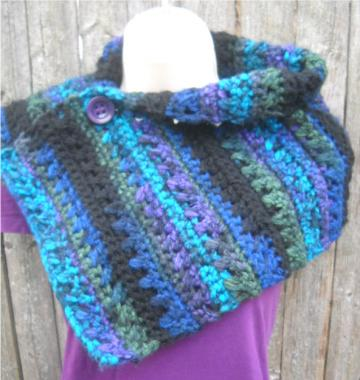 Crocheted Velvet Twilight Buttoned Cowl in Purple, Blue, and Black - Made to Order