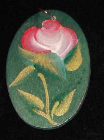Handpainted red and white rose wooden ornament