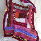"Colorblock Afghan-Throw - ""Coral Fire"" hand-crocheted"