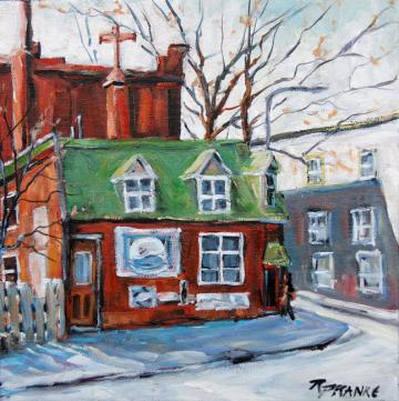 "Original Small Oil Painting ""Old Corner Store Montreal"" by Prankearts"