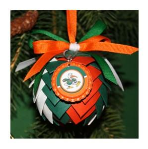 University of Miami Hurricanes Pine Cone Ornament