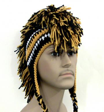 Mohawk Hat - Black and Gold - Made to Order