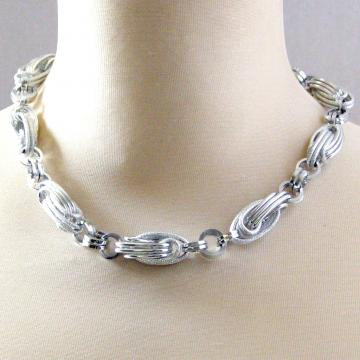 Vintage Double Oval Large Link Aluminum Necklace Siver Tone  1940s Mint