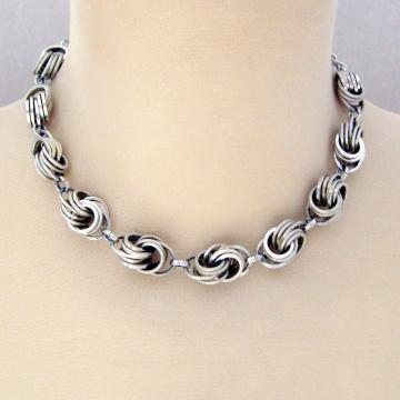 Vintage Pre-WWII Double Large Link Aluminum Silvertone Necklace Marked