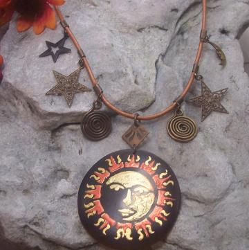 Celestial Brass Necklace Moon and Star Filigree  Sun Pendant Leather Charm Orange Brown and Gold