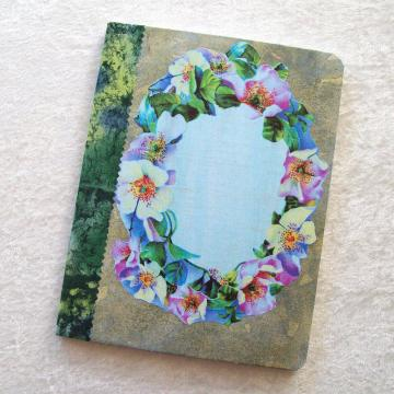 Journal - Composition Book, Blue Floral Wreath - 9.75 x 7.5 inches, 100 sheets, wide ruled