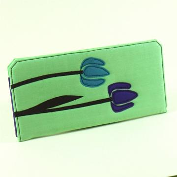 Ladies wallet with coin purse in mint green with purple and blue tulip applique. and white flower applique