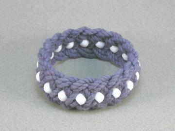 blue cotton turks head knot bracelet white beads med 503