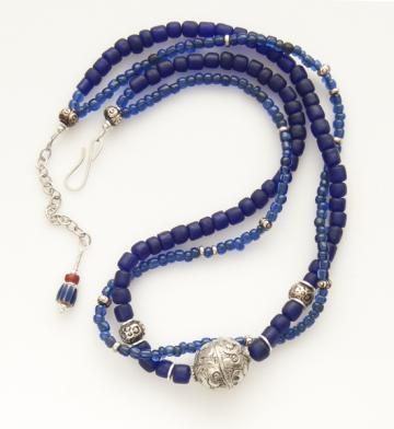 Tibetan silver on cobalt & sapphire blue glass necklace
