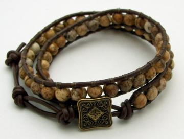 Picture Jasper Double-Wrap Leather Bracelet