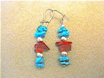 Turquoise and Coral Earrings--Proceeds donated to Carter's Kids, Fighting Childhood Obesity by building playgrounds across America