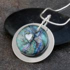 Fused Multi Colored Dichroic Glass, Sterling Silver and Fine Silver Hearts Pendant Necklace