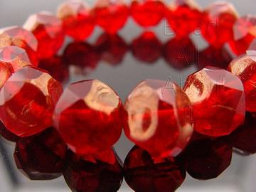 Czech Glass Red with Copper Picasso Finish 8mm Strand