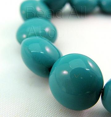 Czech Glass Turquoise 10mm Lentil beads strand