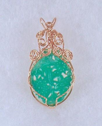 Occupied Japan carved jade glass pendant in gold filled wire  P126